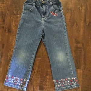 Gently worn pair of beautifully detailed jeans.